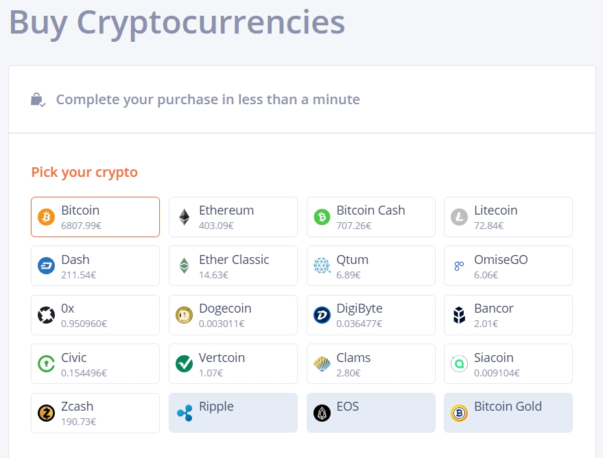 Bitit supported cryptocurrencies
