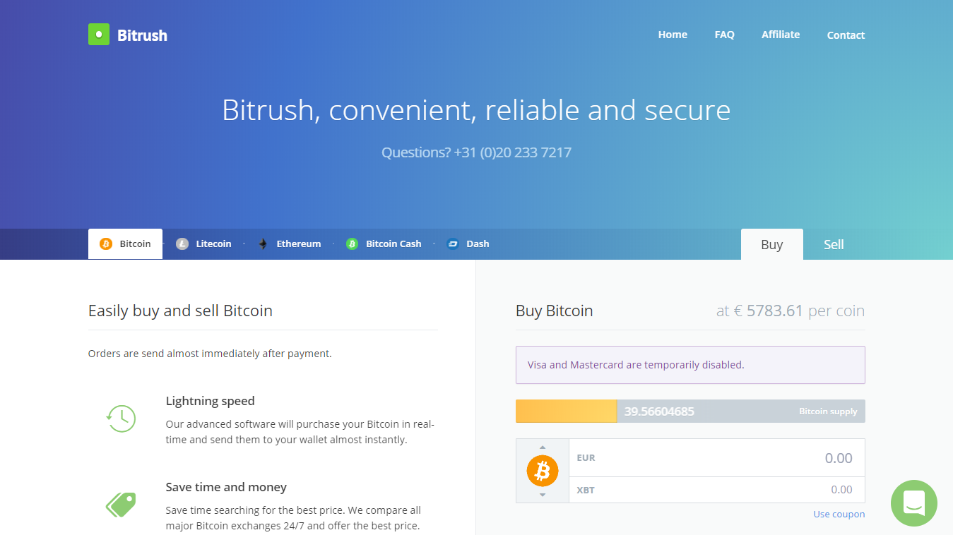 Bitrush for buying bitcoin