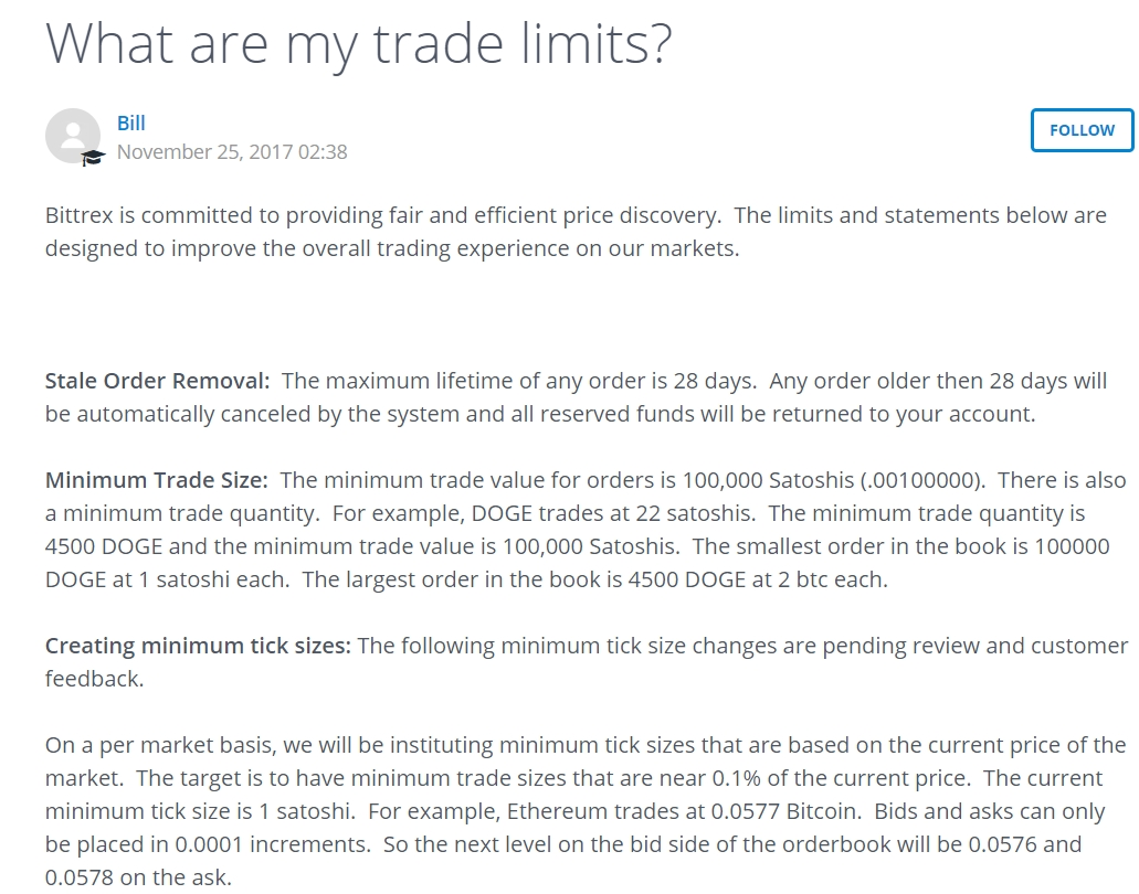 Bittrex trade limits