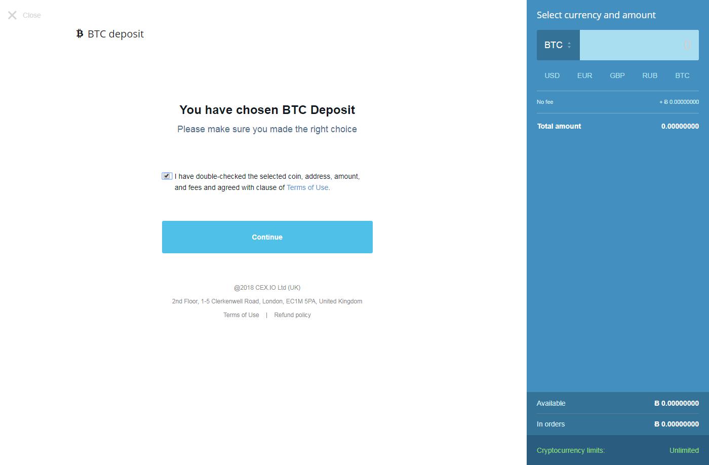 BTC deposit CEX.IO