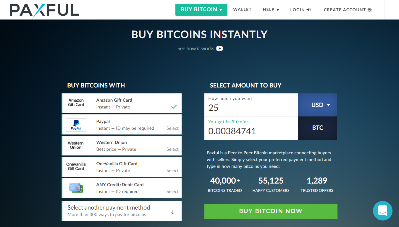 Buy and sell bitcoin instantly with Paxful