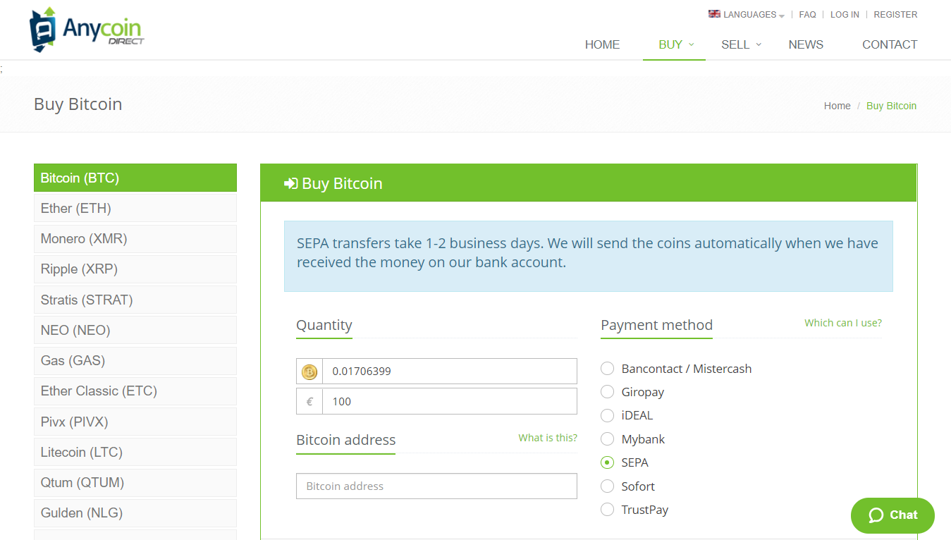 Buy bitcoin with Anycoin direct