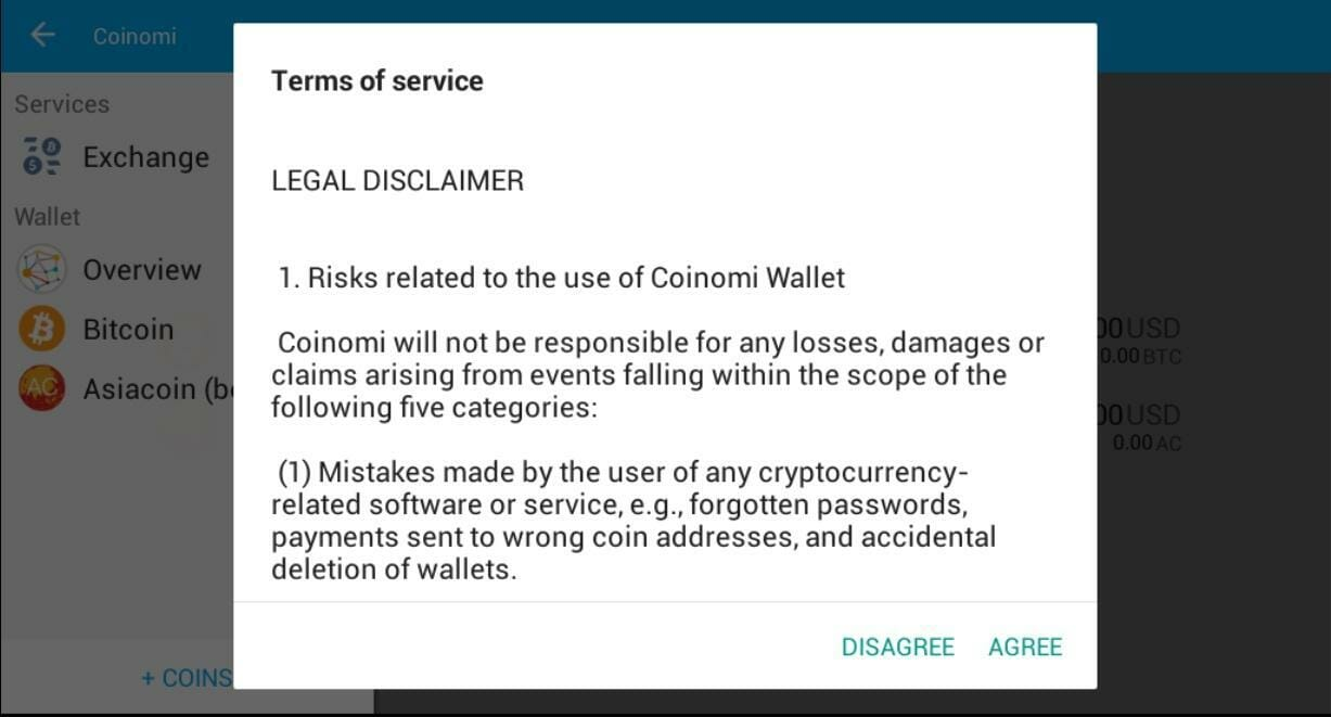 Coinomi terms of service
