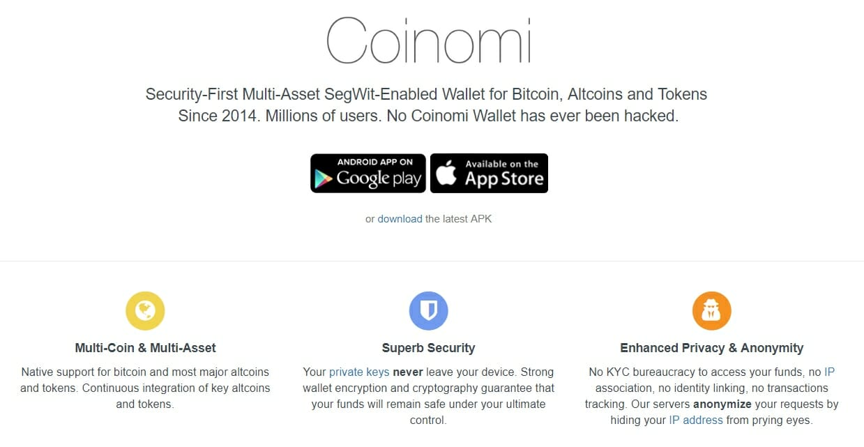 Coinomi website