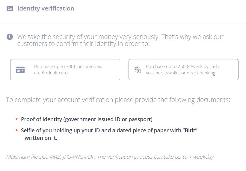 Confirm identity on Bitit