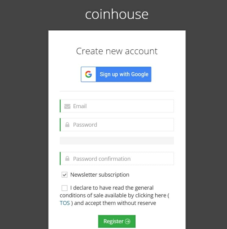Creat account on Coinhouse