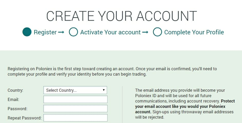 Create account on Poloniex