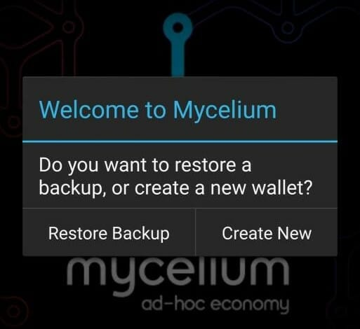 Create new wallet on Mycelium