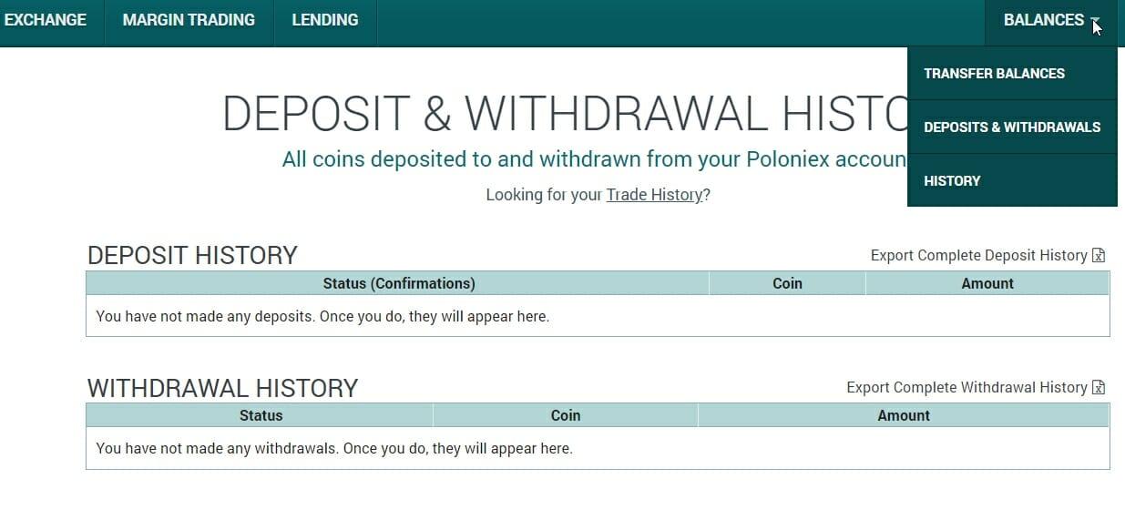 Deposit history on Poloniex