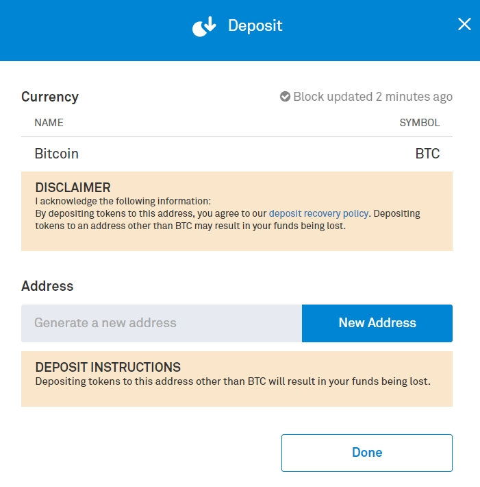 How to deposit BTC on Bittrex