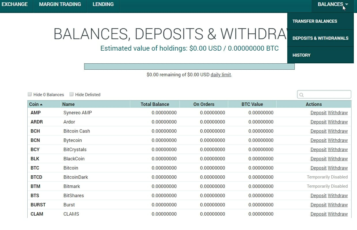 How to deposit funds on Poloniex