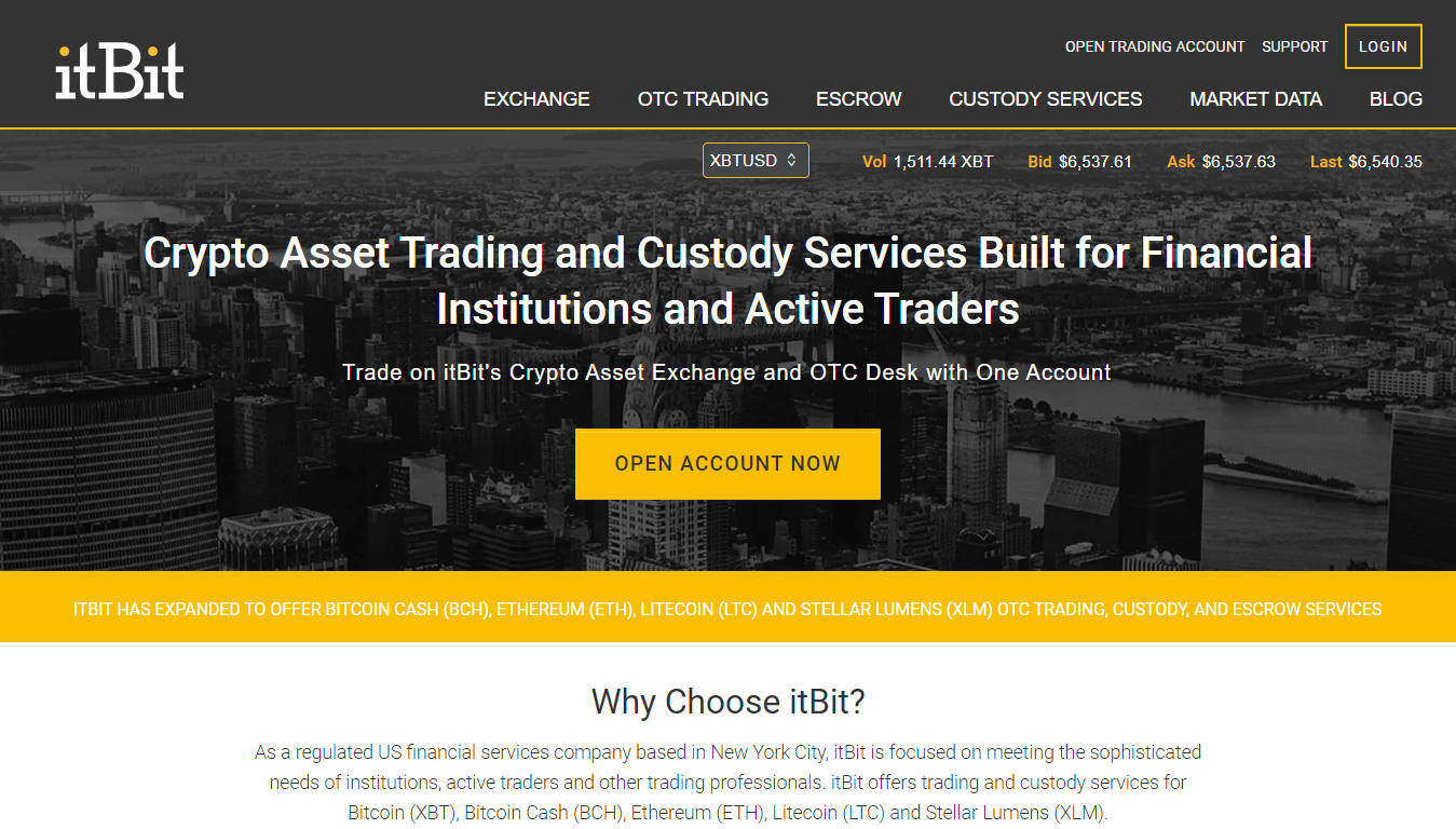 itBit exchange and OTC services