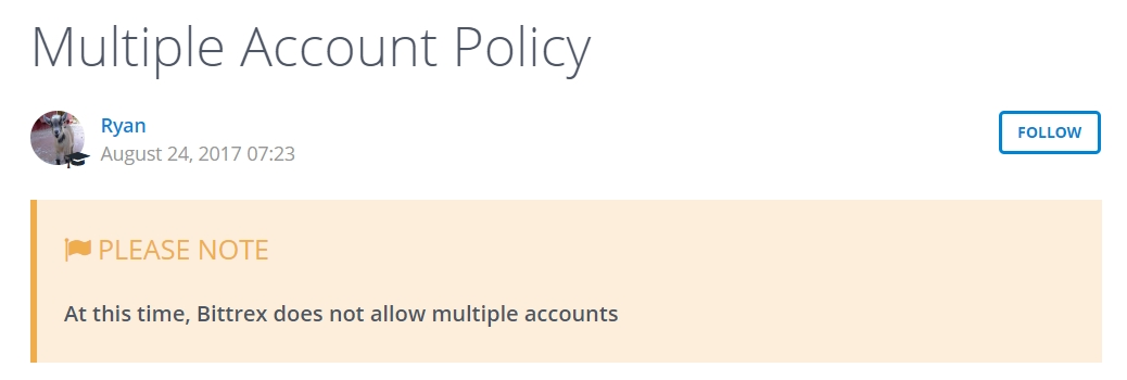 Multiple account policy on Bittrex