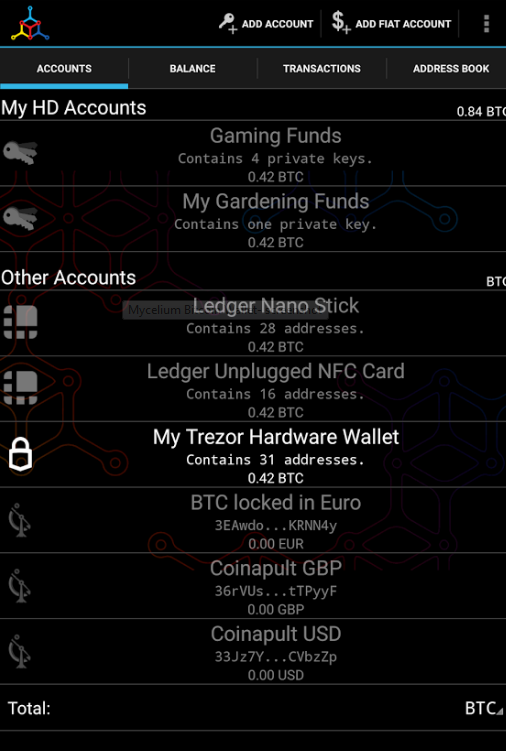 Mycelium wallet interface