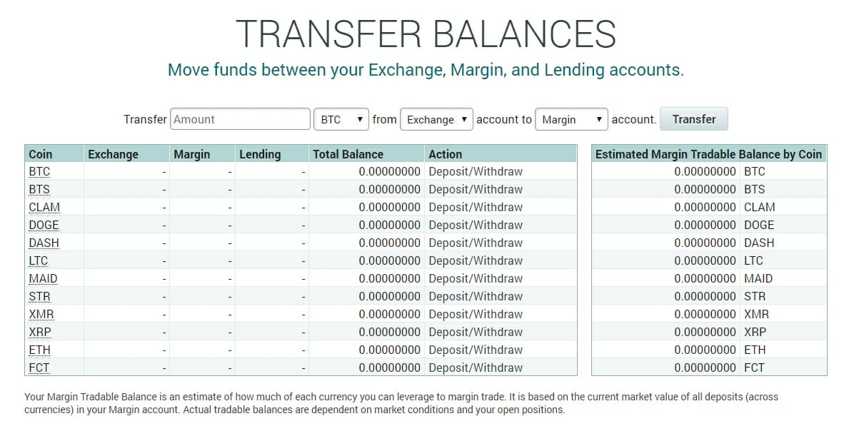 Poloniex transfer balances