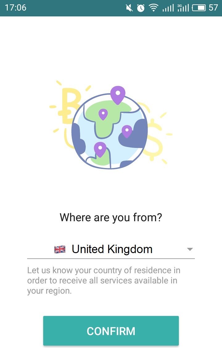 Select country in Wirex app