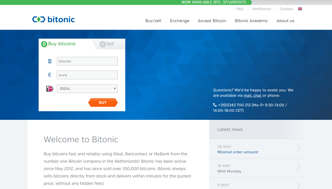 Sell bitcoins directly with Bitonic