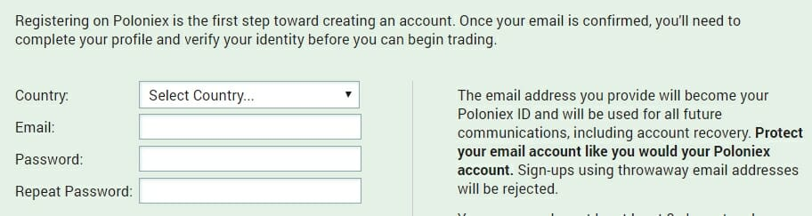Set password to create account on Poloniex