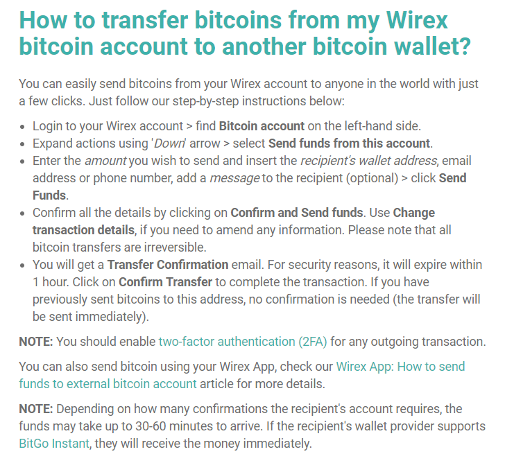Transfer BTC from Wirex