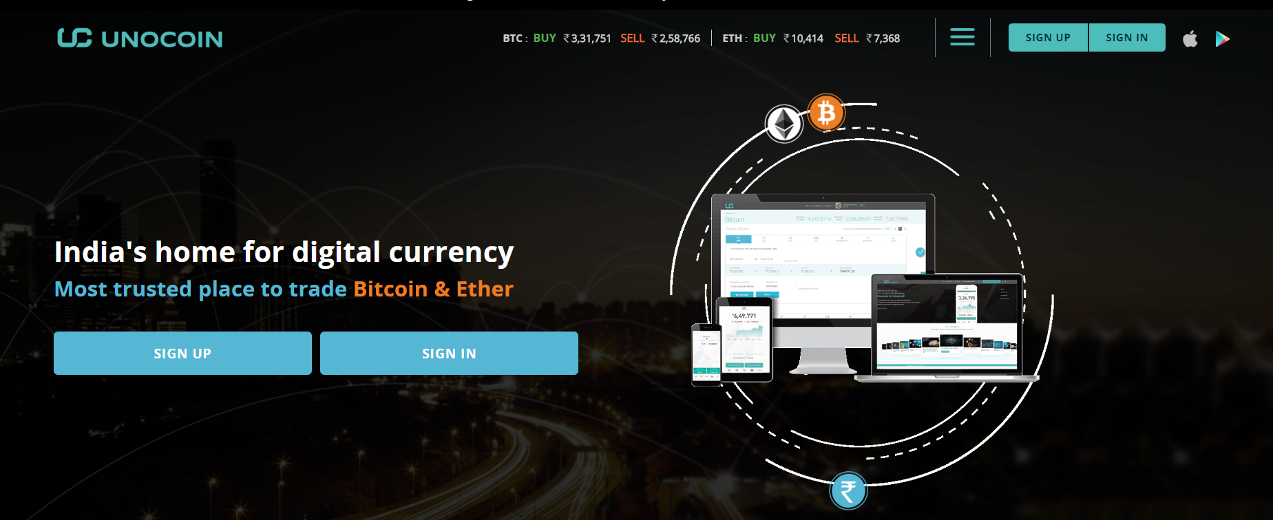Unocoin BTC exchange