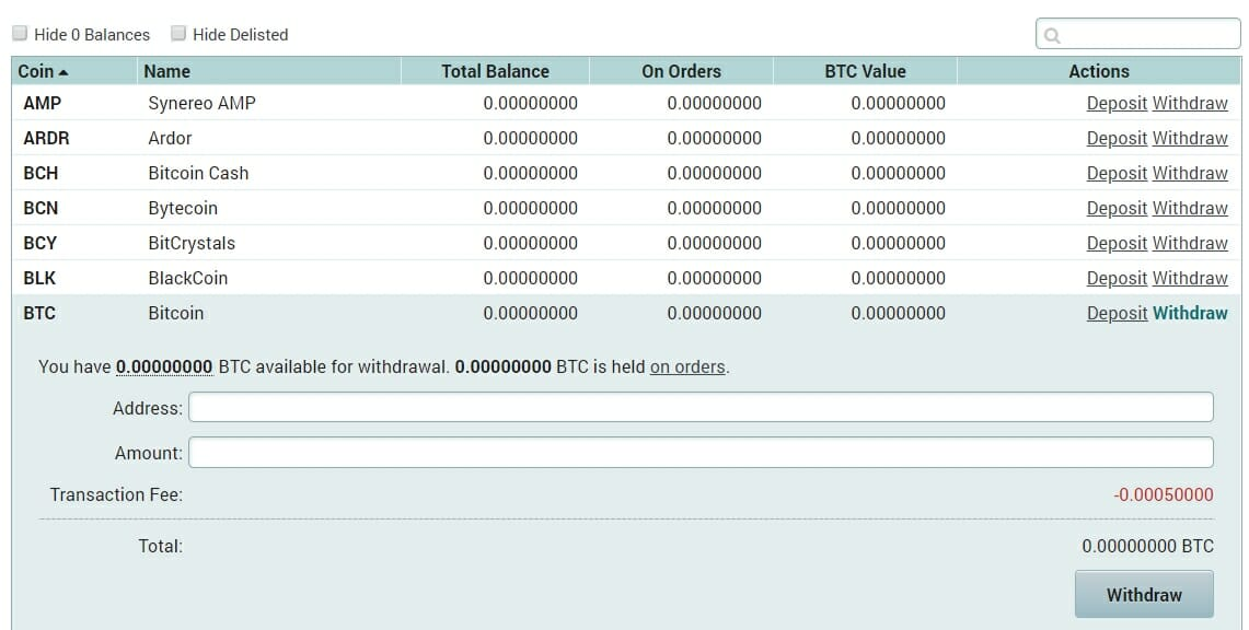 Withdraw BTC on Poloniex