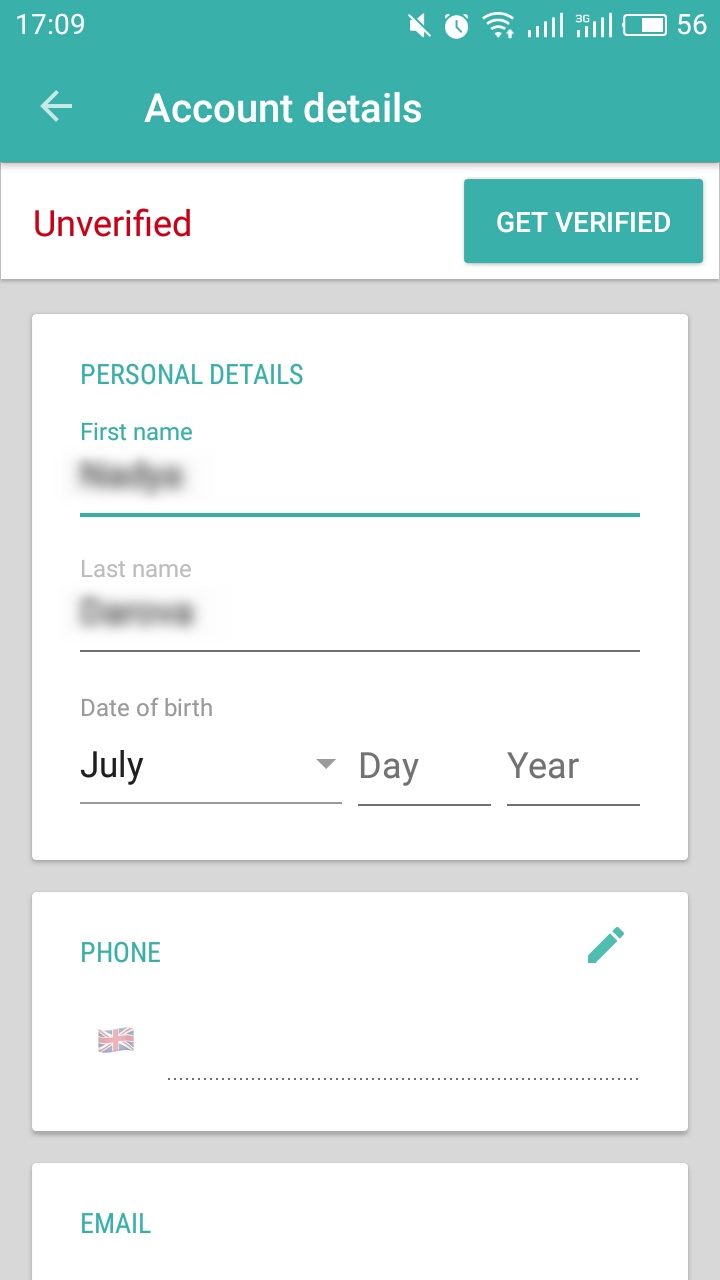 Account details for Wirex