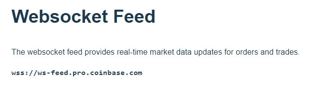 Coinbase Pro GDAX websocket feed