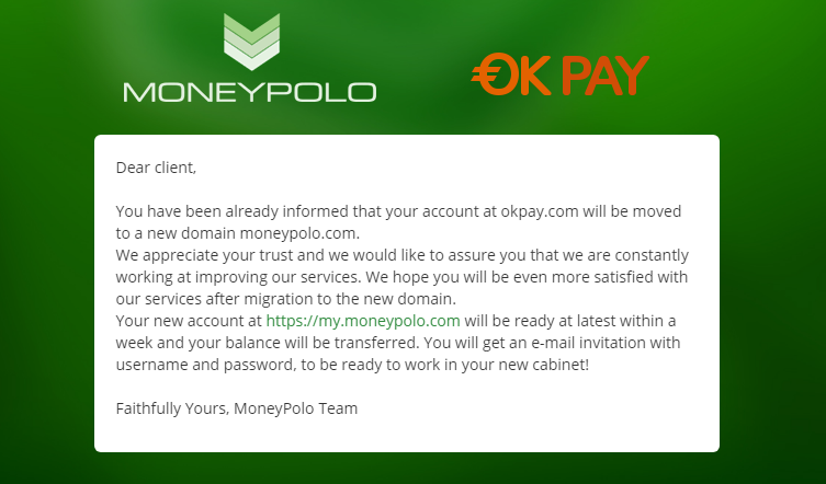 OKPay migration to MoneyPolo domain