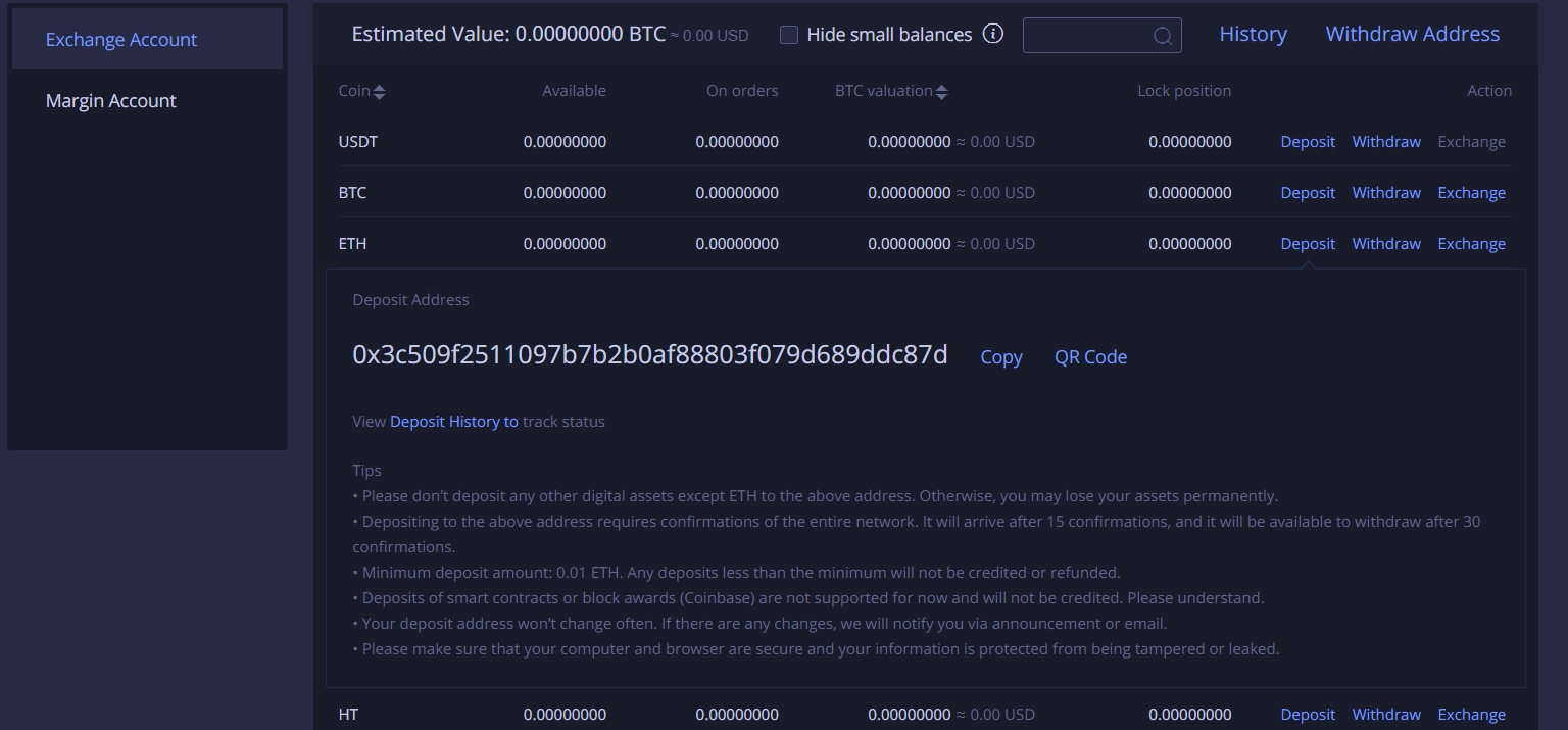 Deposit coins on Huobi