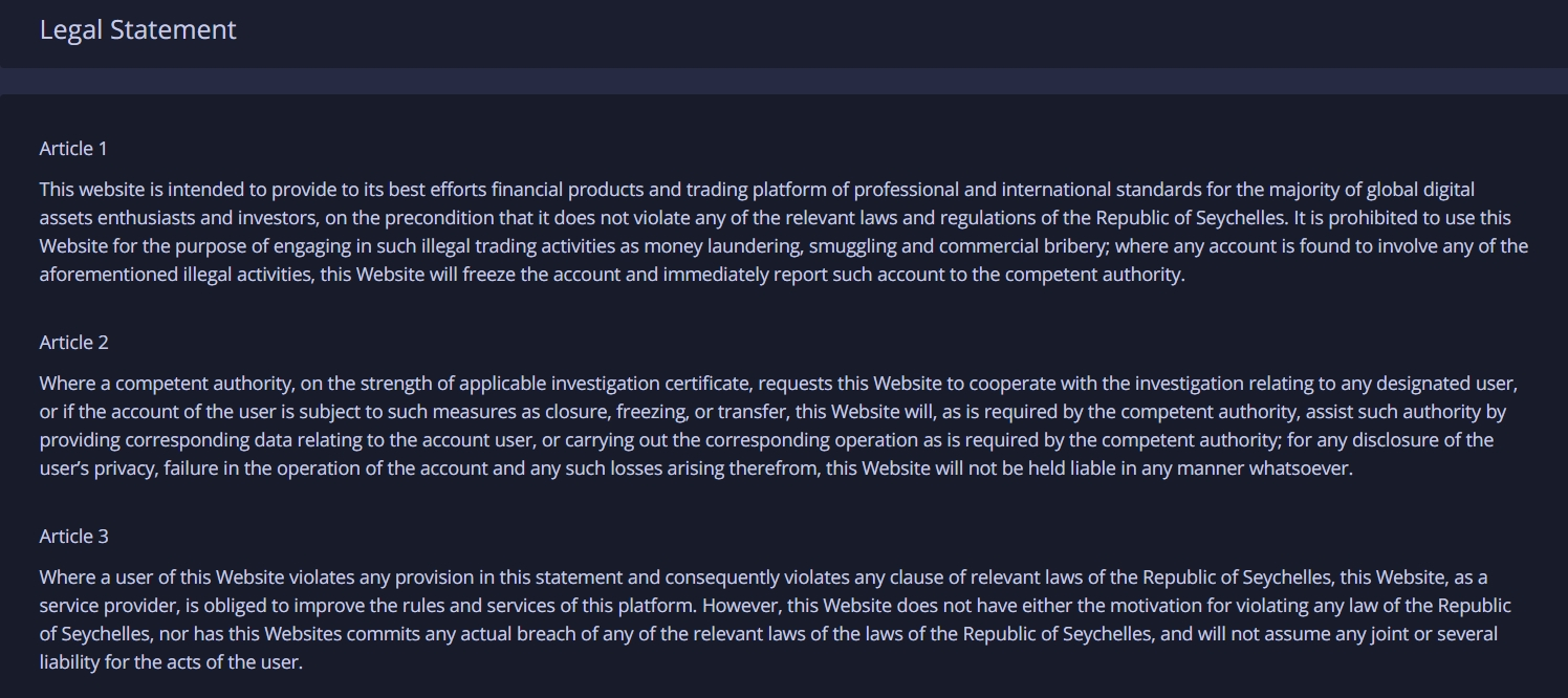 Huobi legal statement