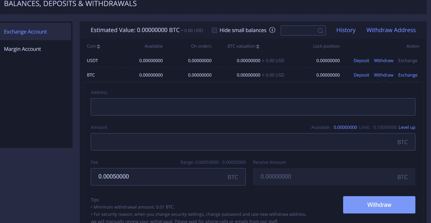 Withdraw BTC on Huobi